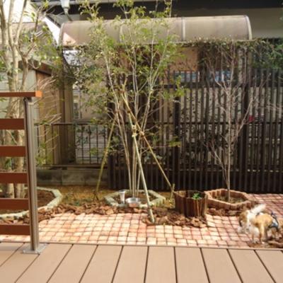 飼い主様も一緒にくつろげるガーデンファニチャーも取り入れた庭
