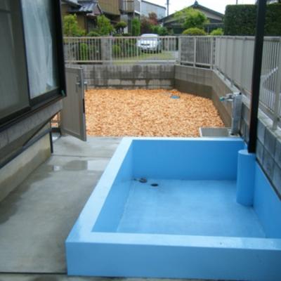 水遊びの好きなわんちゃんの為にプールを設置した庭