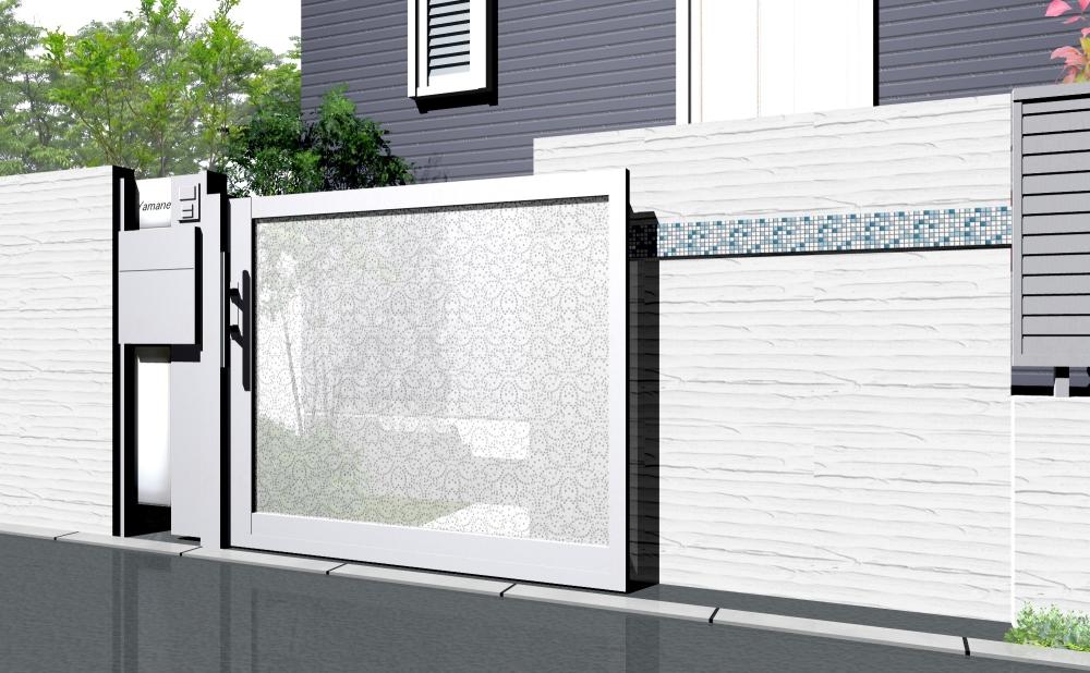 スタイリッシュなパンチングデザインの引き戸が印象的な門まわり。
