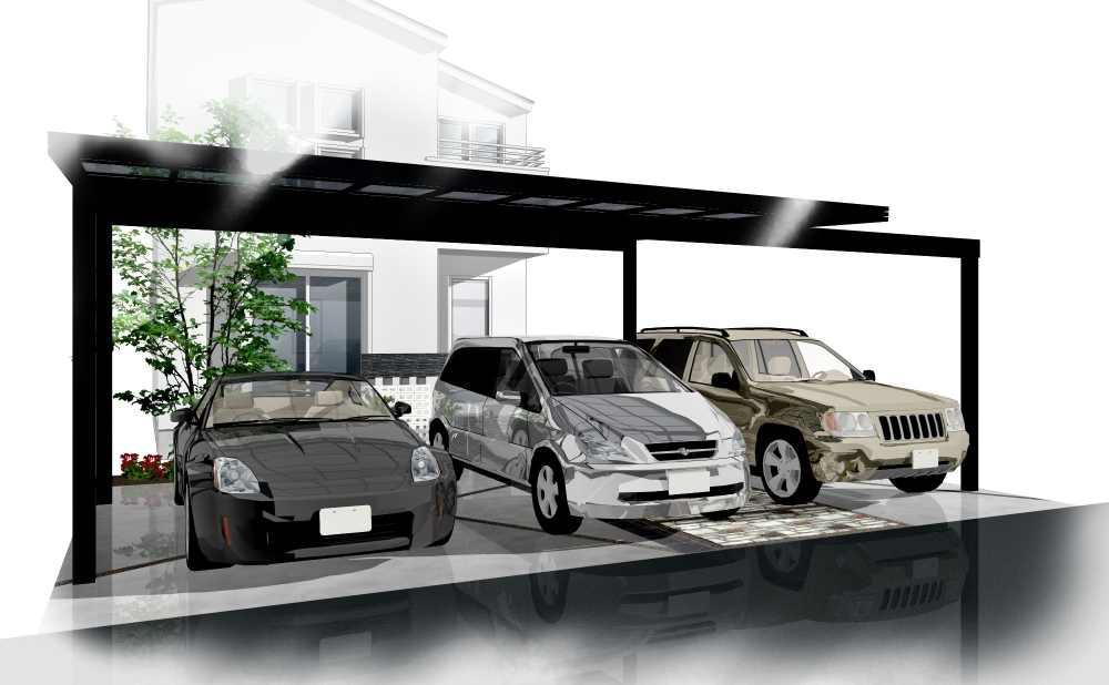 エントランスとの一体感を生むカーポートのフレームが特徴的