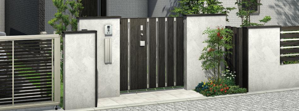 門まわり付帯工事:両開門扉取付