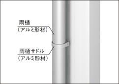 【アルミ縦樋】アルミ製の雨どいとサドルを標準で装備しました。樹脂製も用意しています。