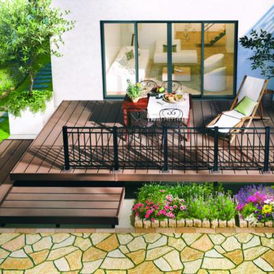 人工木デッキ ひとと木2 木目床板 スロープ・段床セット 幅2700×奥行2600