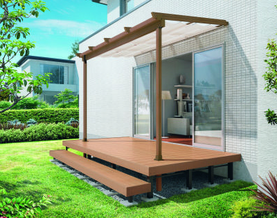 木調テラス NATURE ナチュレN 壁寄せ仕様 日よけ+隙間カバーセット